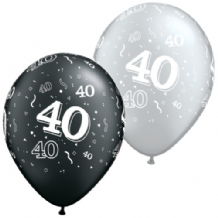 40th Black & Silver - 11 Inch Balloons 25pcs